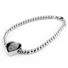 Photo & Message Engraved Ball Chain Heart Charm Bracelet